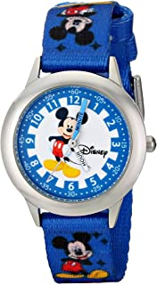 Disney Kids' W000022 Time Teacher Stainless Steel Watch with Blue Nylon Band