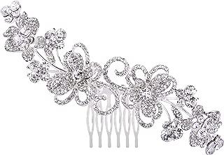 BriLove Women's Bohemian Boho Wedding Crystal Hollow Flower Vine Butterfly Hair Comb Clear Silver-Tone