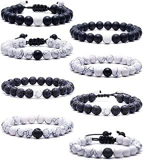 SOOWOOT 8Pcs Howlite Bracelet Black Matte Agate Bracelet Couples Bracelet Distance Bracelet Lava Rock Energy Beads Bracelet Set