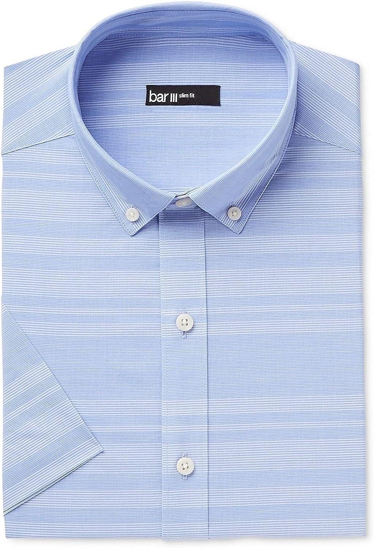 Bar III Men's Slim-Fit Stretch Easy Care Short Sleeve Dress Shirt