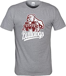 Mississippi State Bulldogs T Shirt with Distressed Vintage Bulldog Logo
