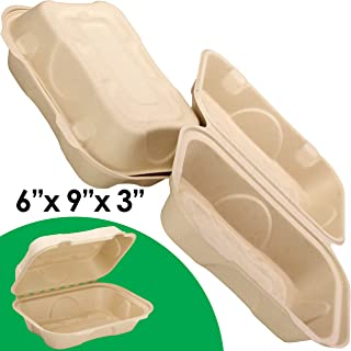 Biodegradable 6x9 Take Out Food Containers with Clamshell Hinged Lid 50 Pack. Microwaveable, Disposable Takeout Box to Carry Meals Togo. Great for Restaurant Carryout or Party Take Home Boxes
