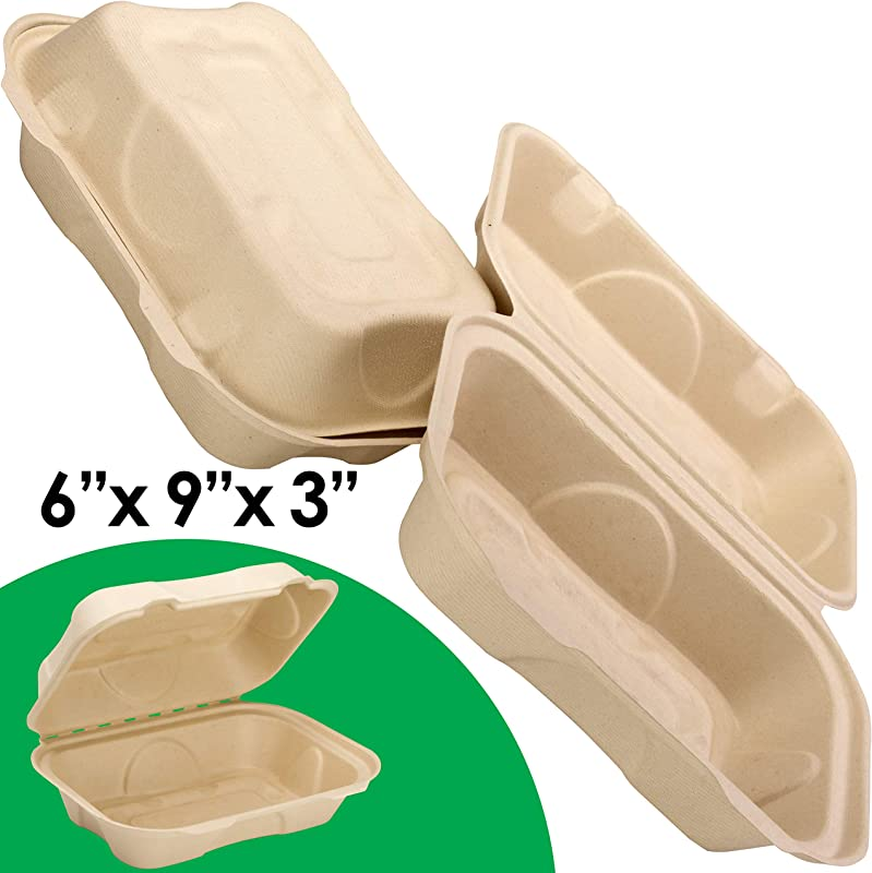 Biodegradable 6x9 Take Out Food Containers With Clamshell Hinged Lid 50 Pack Microwaveable Disposable Takeout Box To Carry Meals Togo Great For Restaurant Carryout Or Party Take Home Boxes