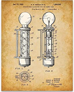 Neon Barber Pole - 11x14 Unframed Patent Print - Great Barber Shop Decor Under $15 For Hair Stylists