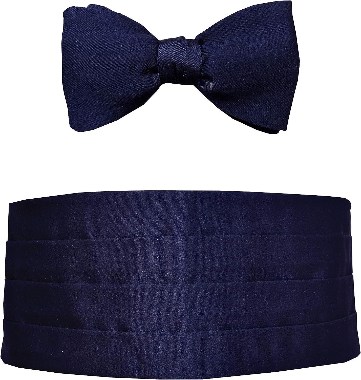 Remo Sartori Made in Italy Men's Blue Silk Cummerbund Tuxedo Belt & BowTie Set, Silk