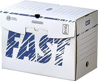 Fast Lot de 25 Boîtes Archives en Carton Dos 20cm Montage Manuel Blanc / Bleu