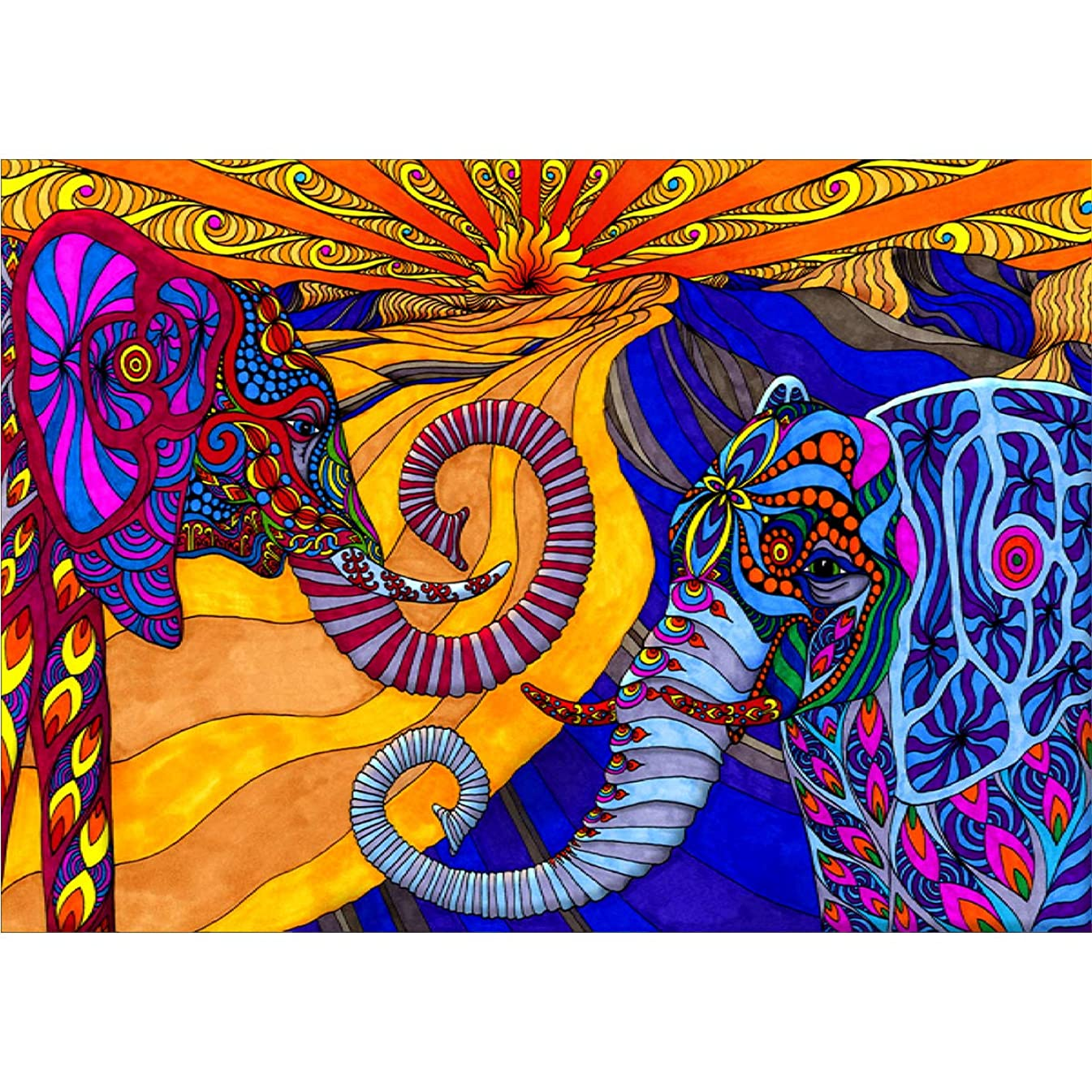 HengQ Diamond Painting for Adult or Kid 5D DIY Full Drill Diamond Painting Sets,Diamond Painting by Number,Elephant Pattern,12