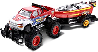 Monster Truck Trailer with Speed Boat - Friction Push Powered Hauler Play Set - Great Car Boat Fun Adventure for Boys, Kid...