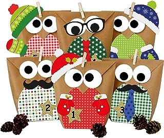 comprar comparacion Calendario de Adviento DIY - con búhos navideños - Navidad 2018 - Set Rojo con decoración Adicional - para personalizarlo
