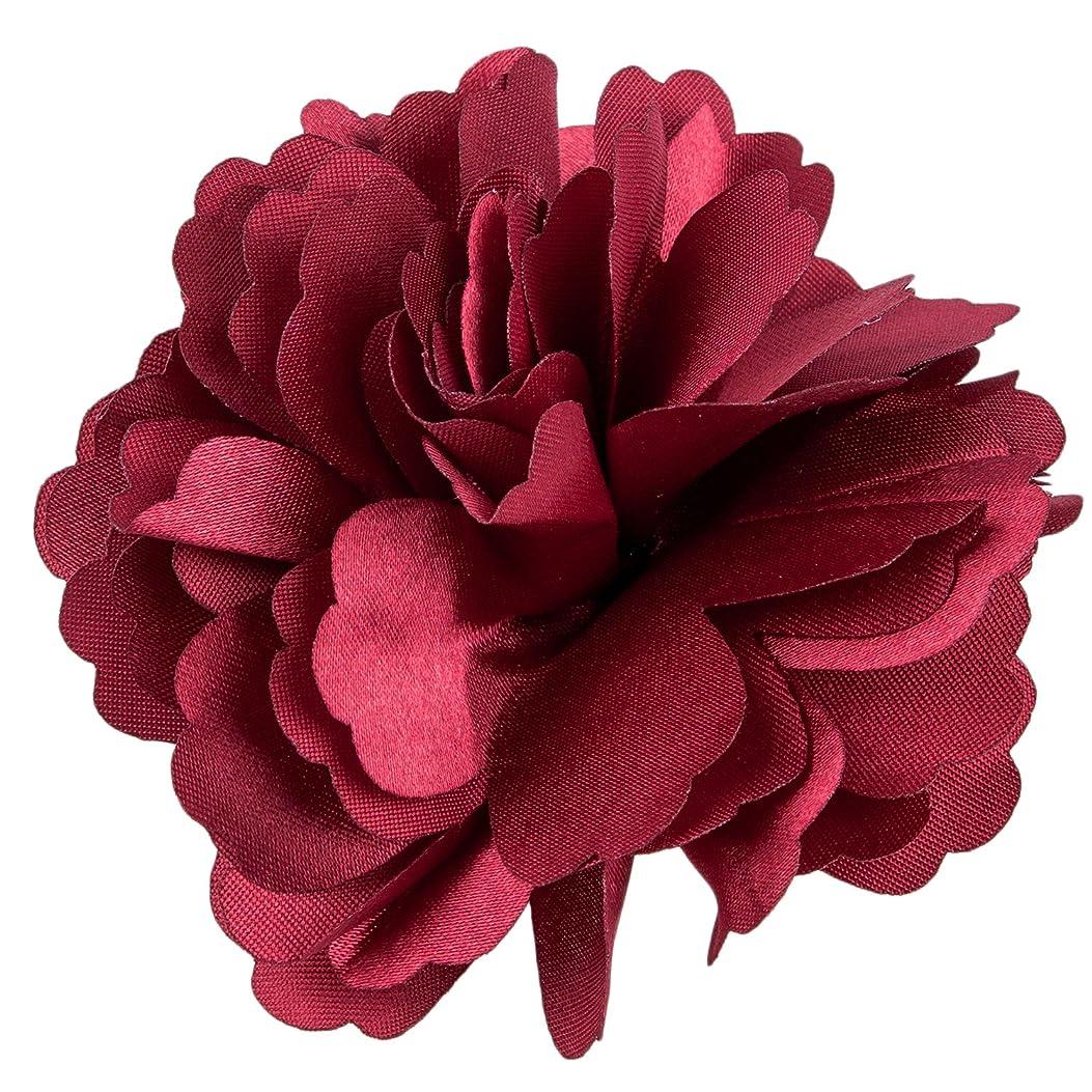 トムオードリース鉱石兵器庫RETYLY 女性のサテン牡丹の花のヘアクリップ ブローチ ワインレッド
