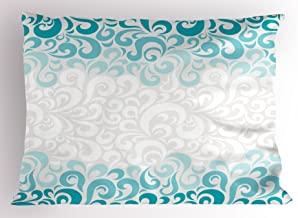 Ambesonne Turquoise Pillow Sham, Abstract Floral Flowers Pattern Classic Design Illustration, Decorative Standard Queen Size Printed Pillowcase, 30 X 20, Teal Turquoise