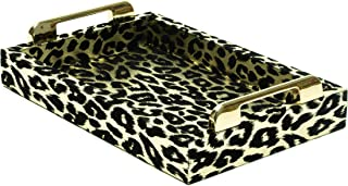 Maryline Orcel Black Serving Tray Leopard Small Tray PU Leather Tray for Coffee Table Tea Breakfast Decorative Display Countertop Kitchen Vanity Butler Serve Tray with Golden Handles by Lucaslo
