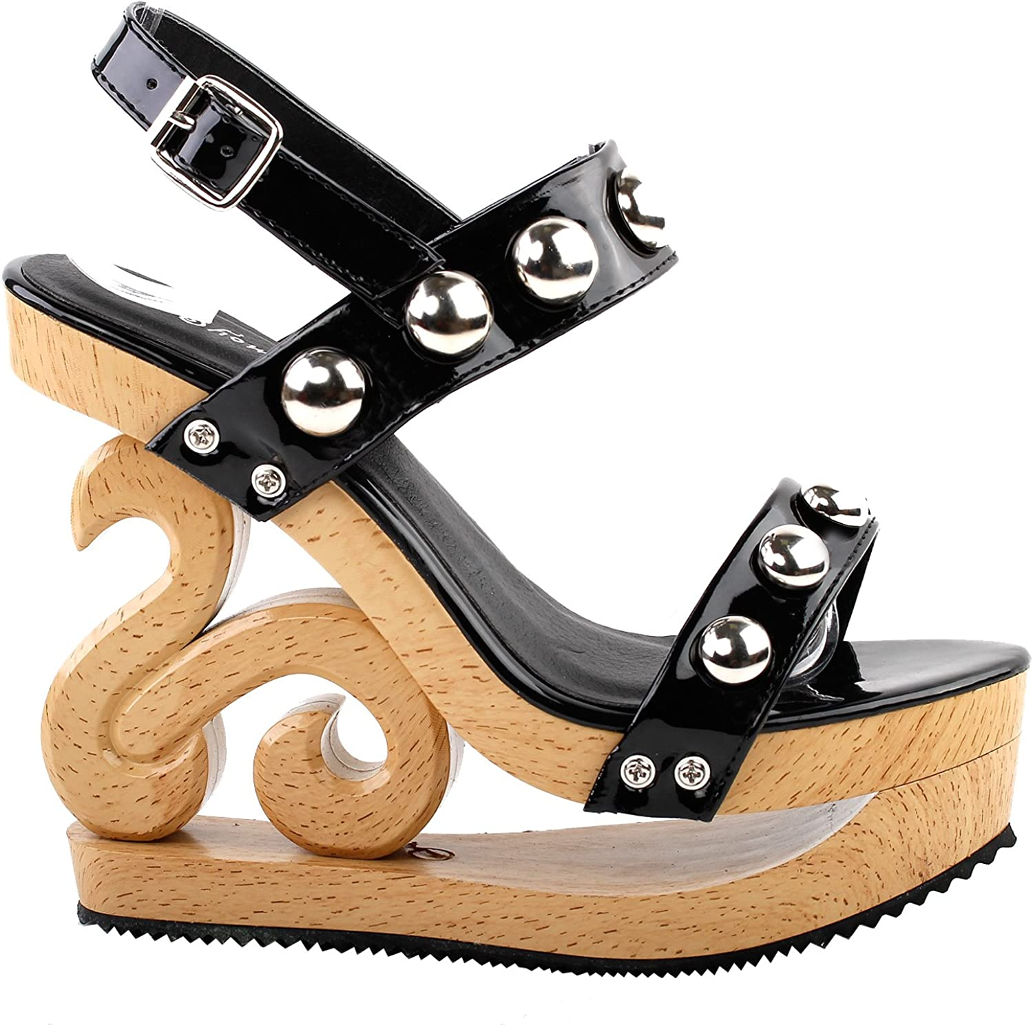 Show Story Sexy Metal Ball Strappy Slingback Wooden Look Wedges Platform Clogs Sandals,LF30832