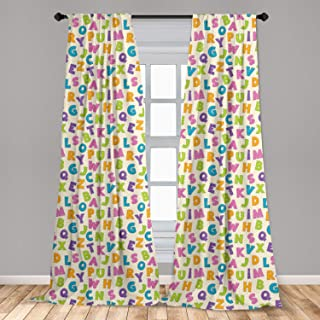 Ambesonne ABC Window Curtains, Funny Letters in Lively Colors Cartoon Style ABC Alphabet on Polka Dots Backdrop, Lightweight Decorative Panels Set of 2 with Rod Pocket, 56