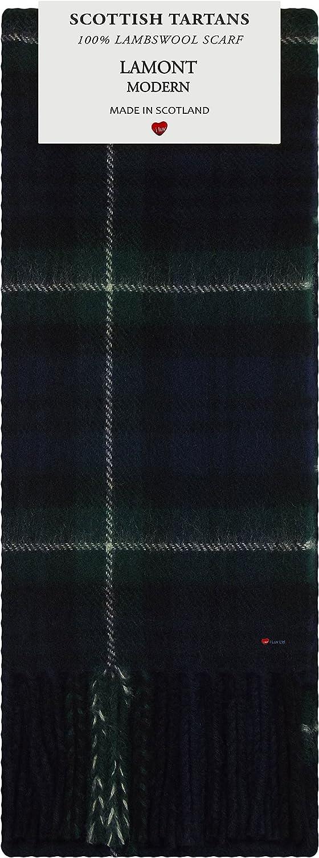 Lamont Modern Tartan 100% Lambswool Scarf Made in Scotland