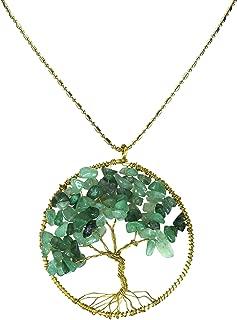 AeraVida Green Quartz Stone Eternal Tree of Life Brass Beads Long Necklace