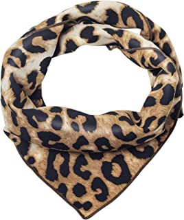 QUARKERA Leopard Print Hair Scarfs Small Silk Scarf Square Animal Print Neck Scarves for Women