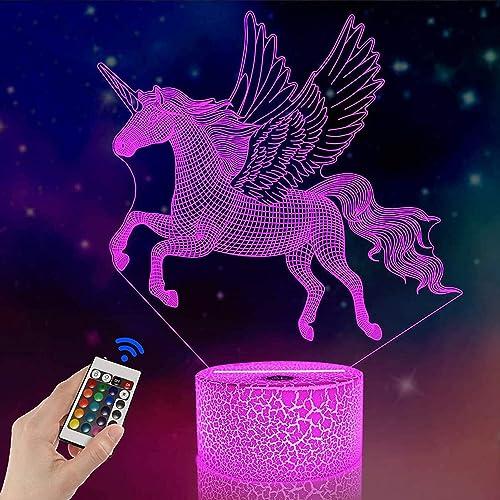 FULLOSUN Unicorn Beside Lamp 3D Optical Illusion Night Light,16 Colors Changing Remote Control Nightlight, Unique Roo...
