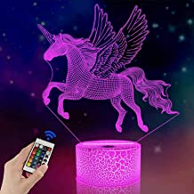 FULLOSUN Unicorn Beside Lamp 3D Optical Illusion Night Light,16 Colors Changing Remote Control Nightlight, Unique Room Dec...