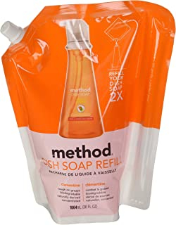 Method Dish Soap Pump Refill, Clementine, 36 Ounce, Small, Orange