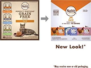 NUTRO PERFECT PORTIONS Grain Free Natural Adult Wet Cat Food Paté Real Chicken, Real Salmon & Tuna, and Real Chicken & Liver Recipes Variety Pack, (24) 2.6 oz. Twin-Pack Trays