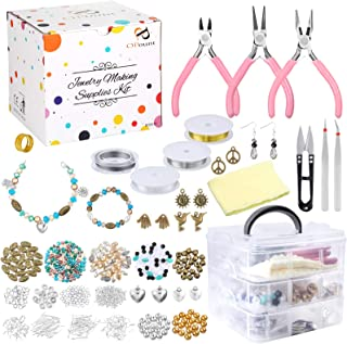 PP OPOUNT Jewelry Making Supplies with Instructions Includes 19 Styles Beads, 8 Styles Findings, Pliers, Cutters, Tweezers...