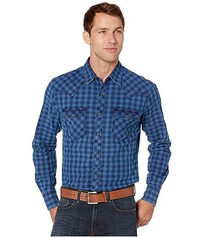 Wrangler Retro Premium Long Sleeve Snap Check Shirt (Blue Denim) Men
