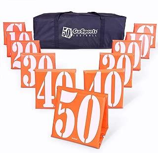GoSports 橄榄球场场码线标记|一套 11 支 | 高可见性加权码标记带便携式手提箱