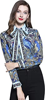 BEST-F-U Womens Bow Tie Neck Long Sleeve Casual Office Work Chiffon Blouse Shirts Tops