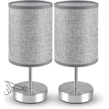 Touch Control Table Lamp Set of 2, MOICO 3-Way Dimmable Bedside Lamps with Silver Metal Base and Linen Fabric Shade, Modern Nightstand Lamps for Bedroom, Living Room, Kids Room, Office, College Dorm