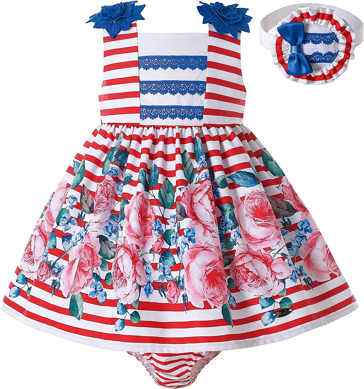 Pettigirl Girls Popular brand Kids Sleeveless Stripe Fancy List price Floral Outfit Dress