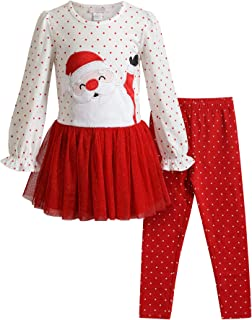 Youngland Girls' Santa Applique Tutu Top and Glitter Dot Legging Set