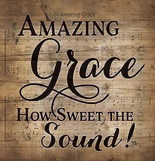 P. GRAHAM DUNN Amazing Grace Sheet Music Design 12 x 12 Wood Lath Wall Art Sign Plaque