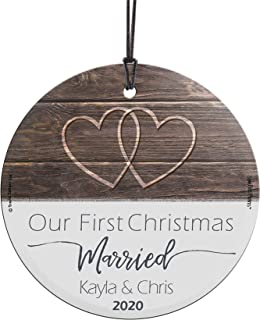 """Best Our First Christmas Married Glass Ornament – Personalized Rustic Double Hearts Farmhouse – Suncatcher Hanging Print Christmas Tree Date Display 3.5"""" Circle 