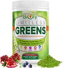 Biofy Limitless Greens Superfood Supplement | #1 Mushroom Green Juice Powder to Increase Energy, Boost Immune System, Detox & Revitalize | 100% Organic | 30 Day Supply | Non-GMO, Vegan