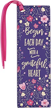Bookmark Navy Grateful Heart With Love Pink/Blue Faux Leather Bookmark | Begin Each Day with A Grateful Heart Pink Floral | I