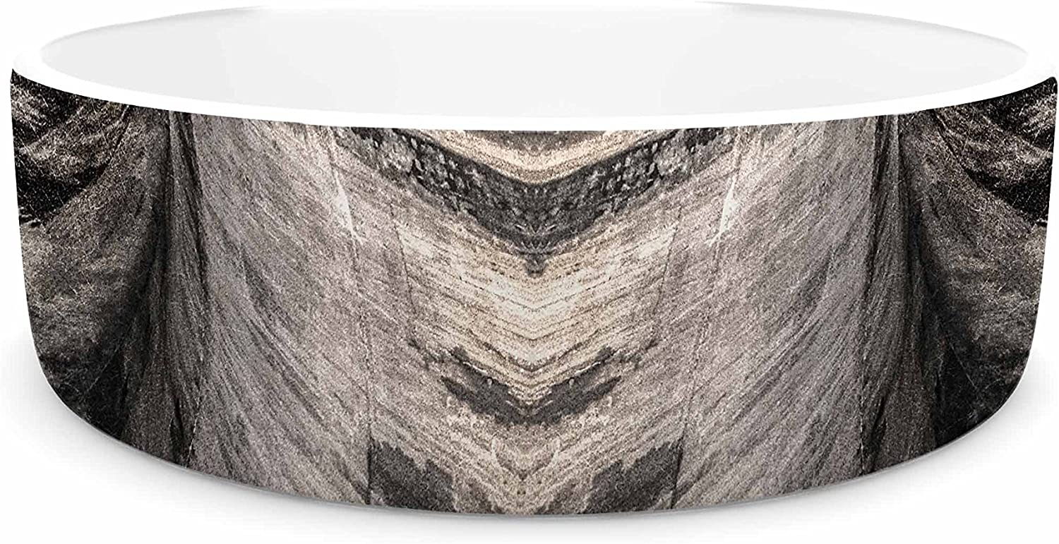 KESS InHouse Bruce Stanfield Dam Reticulation The Void  Black White Pet Bowl, 4.75