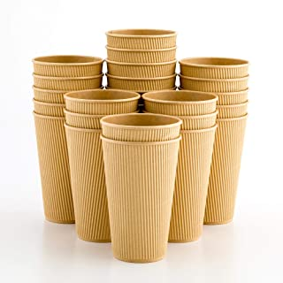 500-CT Disposable Kraft 16-OZ Hot Beverage Cups with Ripple Wall Design: No Need for Sleeves – Perfect for Cafes – Eco-Friendly Recyclable Paper – Insulated – Wholesale Takeout Coffee Cup