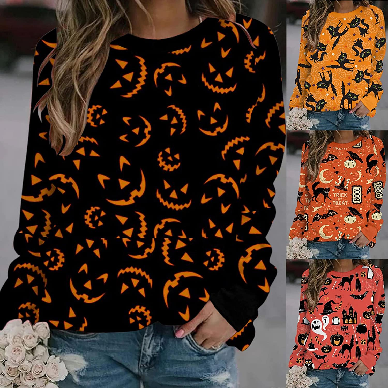 Halloween Shirts for Women,Women Halloween Open Front Cardigan Blouse Funny Pumpkin Graphic Long Sleeved Loose Tops
