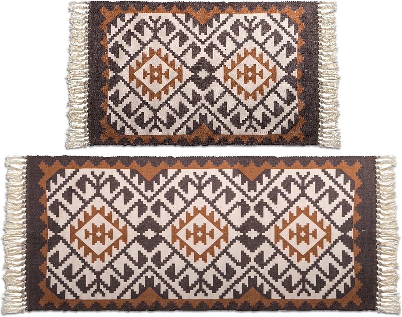DEAYOU Ranking TOP3 2 Pack Bohemian Rugs Doormats It is very popular Throw R Tassels Boho Print