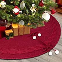 Townshine Christmas Tree Skirt, 48 Inches Thick Knitted Yarn Knit Rustic Xmas Tree Mat for Xmas Holiday Decoration, Burgun...