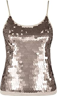 Women's Sequin Tank Top Spaghetti Strap Camisole Sparkle Club Vest Top