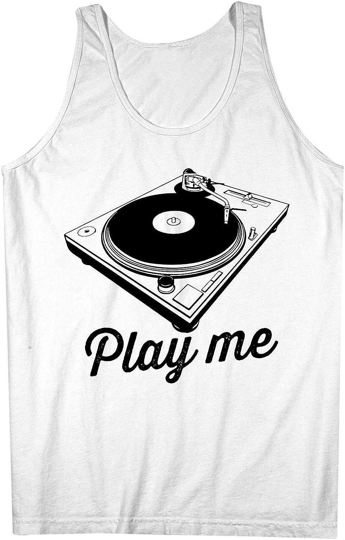 DJ Scratch Table Gramophone Design Play Me 男性用 Tank Top Sleeveless Shirt