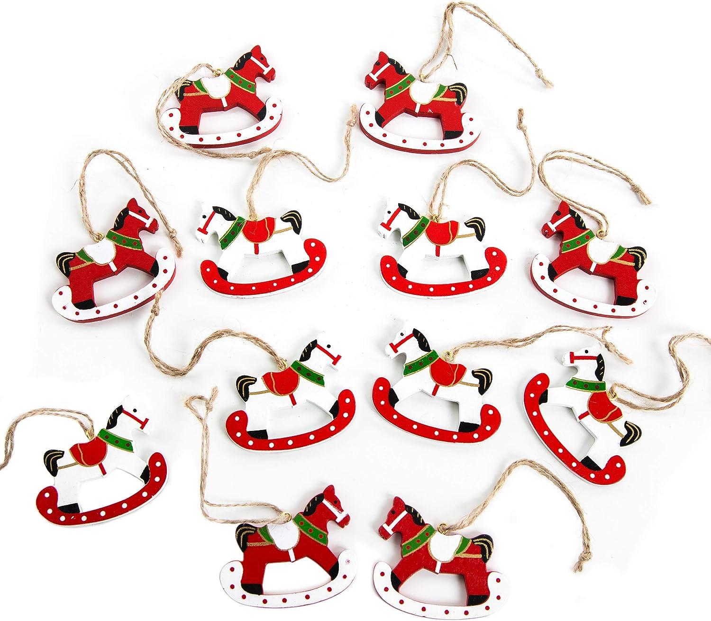 Logbuch-Verlag 12 pequeños colgantes de Navidad, diseño de caballo balancín, color rojo, blanco y verde