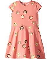 mini rodini - Monkeys All Over Print Short Sleeve Dress (Infant/Toddler/Little Kids/Big Kids)