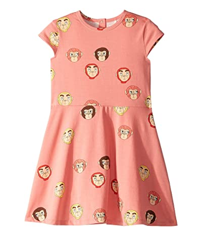 mini rodini Monkeys All Over Print Short Sleeve Dress (Infant/Toddler/Little Kids/Big Kids) (Pink) Girl