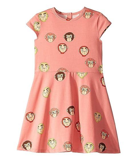 mini rodini Monkeys All Over Print Short Sleeve Dress (Infant/Toddler/Little Kids/Big Kids)