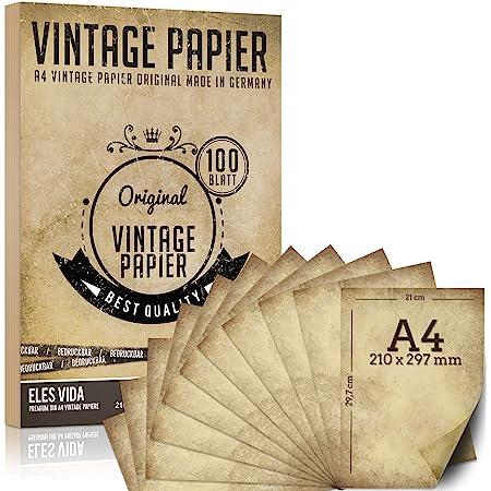 100 morceaux de papier à lettre vintage A4 100g / qm avec 5 feuilles de papier kraft - vieux papier kraft pour certificats cartes au trésor cartes artisanales, mariage, cadeaux, motif scrapbooking
