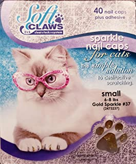 Soft Claws for Cats, Size Small, Color Gold Glitter