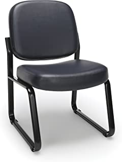 OFM Armless Reception Chair - Anti-Microbial/Anti-Bacterial Vinyl Guest Chair, Navy (405-VAM)